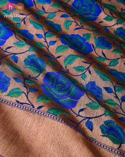 Blue-Green Banarasi Antique Gulab Jaal Cutwork Brocade Handwoven Katan Silk Saree