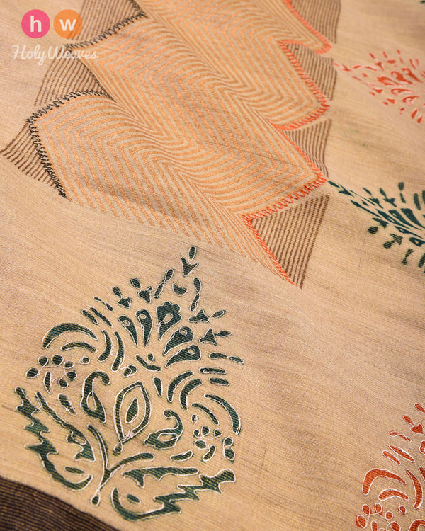 Beige Hand-embroidered Printed Handwoven Muga Silk Dupatta