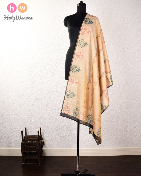 Beige Hand-embroidered Printed Handwoven Muga Silk Dupatta - HolyWeaves