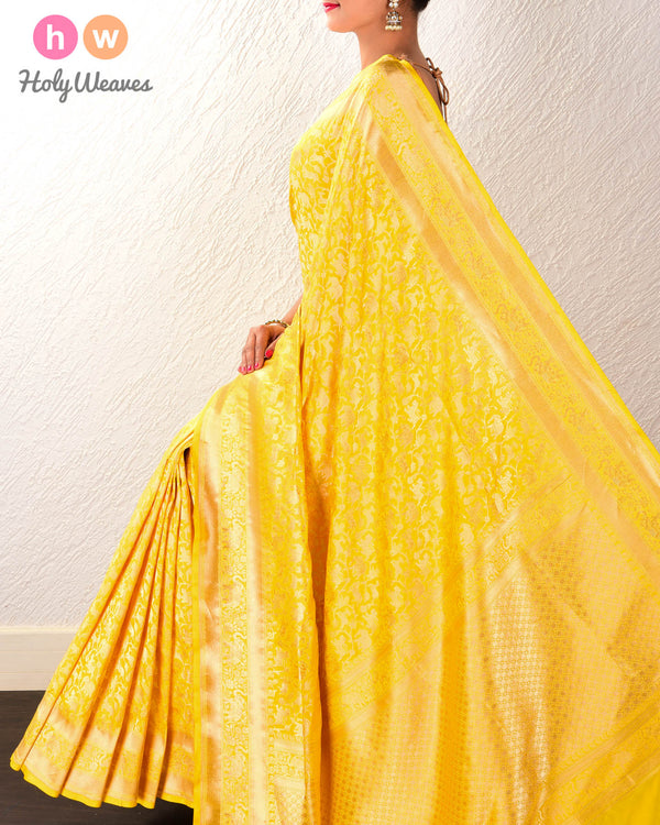 Yellow Banarasi Shikargah Cutwork Brocade Handwoven Katan Silk Saree