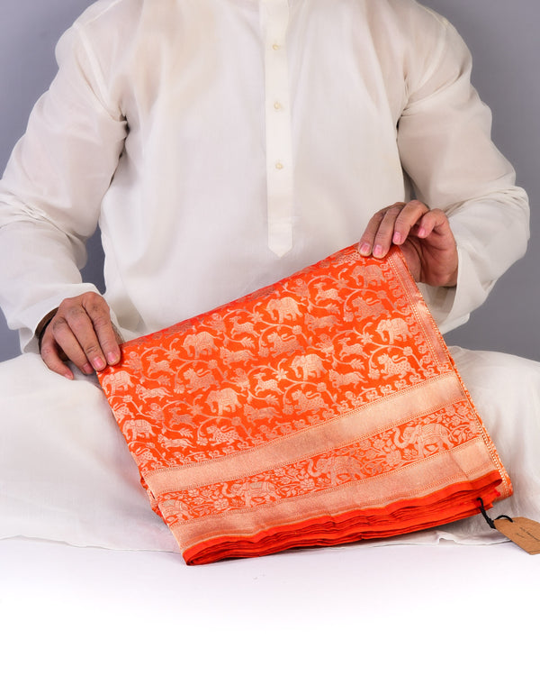 Orange Banarasi Shikargah Cutwork Brocade Handwoven Katan Silk Saree