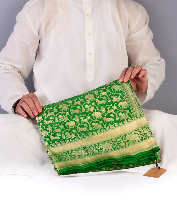 Green Banarasi Shikargah Cutwork Brocade Handwoven Katan Silk Saree