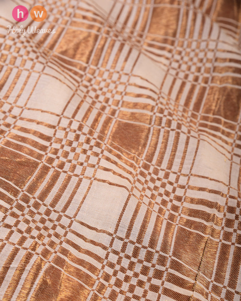 Beige Banarasi Cutwork Brocade Handwoven Muga Silk Fabric with Antique Zari - HolyWeaves
