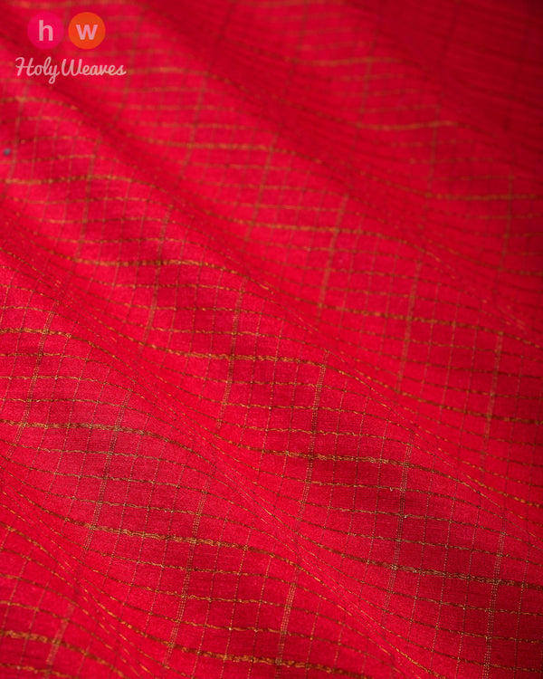 Red Banarasi Cutwork Brocade Handwoven Muga Silk Fabric with Antique Zari - HolyWeaves