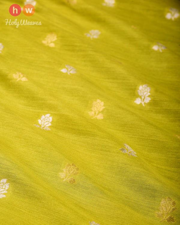 Lime Green Banarasi Gulab Buti Cutwork Brocade Handwoven Muga Silk Fabric - HolyWeaves