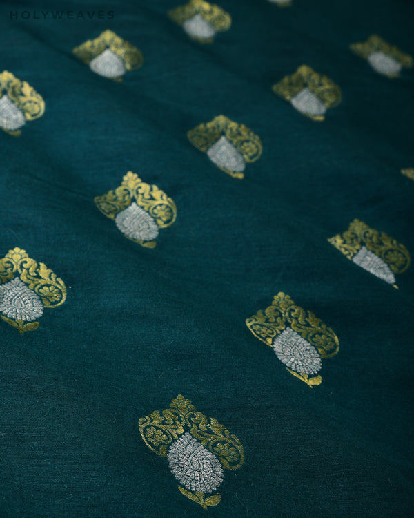 Midnight Green Banarasi Alfi Buti Cutwork Brocade Handwoven Muga Silk Fabric