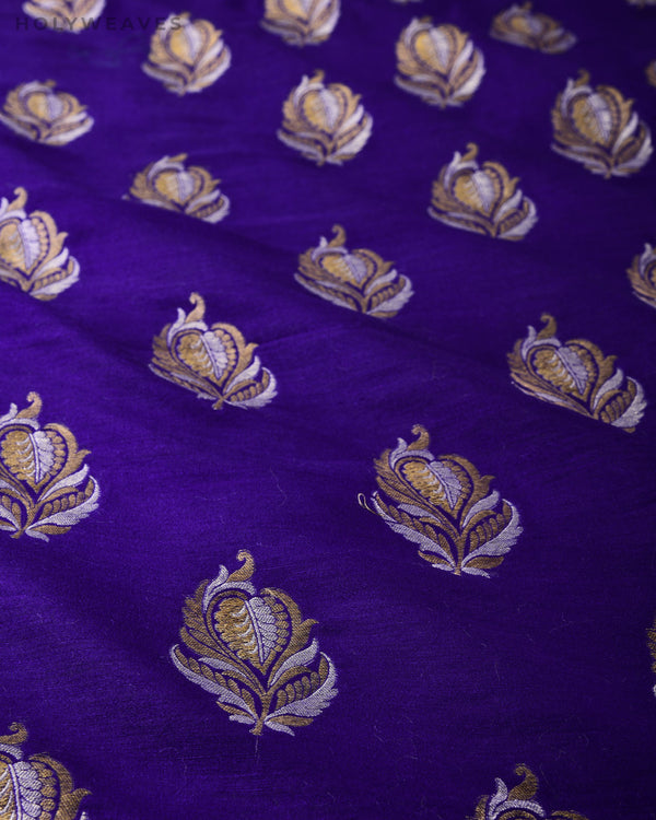 Purple Banarasi Alfi Buti Cutwork Brocade Handwoven Muga Silk Fabric - HolyWeaves