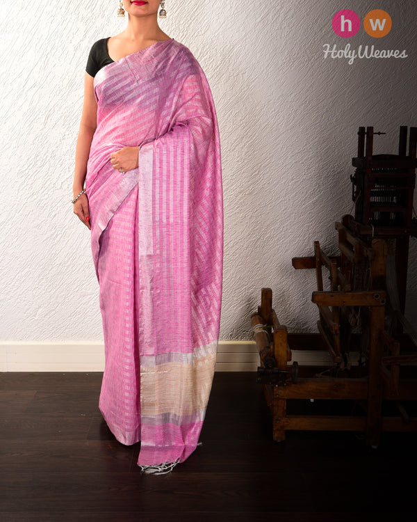 Pink Banarasi Zari Stripes Cutwork Brocade Woven Cotton Silk Saree - HolyWeaves