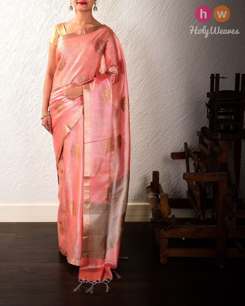 Peach Banarasi Chakra Buta Cutwork Brocade Woven Cotton Tissue Saree - HolyWeaves
