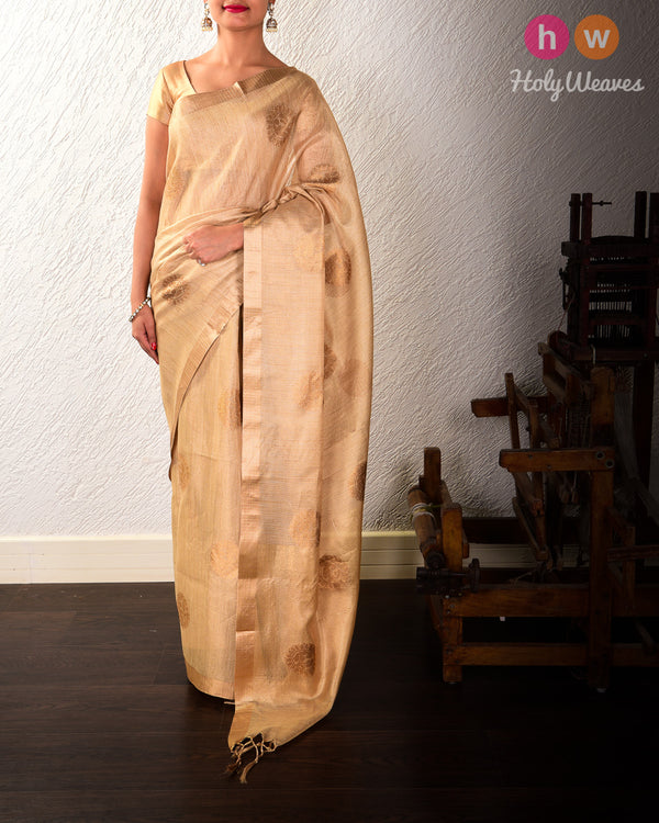 Golden Beige Banarasi Chakra Buta Cutwork Brocade Woven Cotton Tissue Saree - HolyWeaves