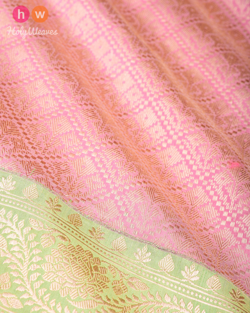 Mauve Banarasi Brocade Handwoven Katan Silk Saree with Green Kadiyal Border - HolyWeaves