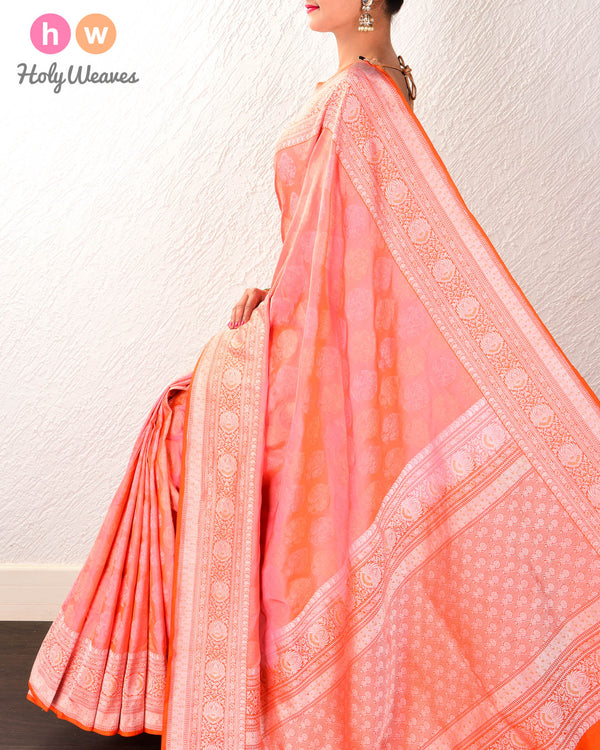 Peach Banarasi Cutwork Brocade Handwoven Katan Silk Saree with All-over Meenedar Reshami Buta - HolyWeaves