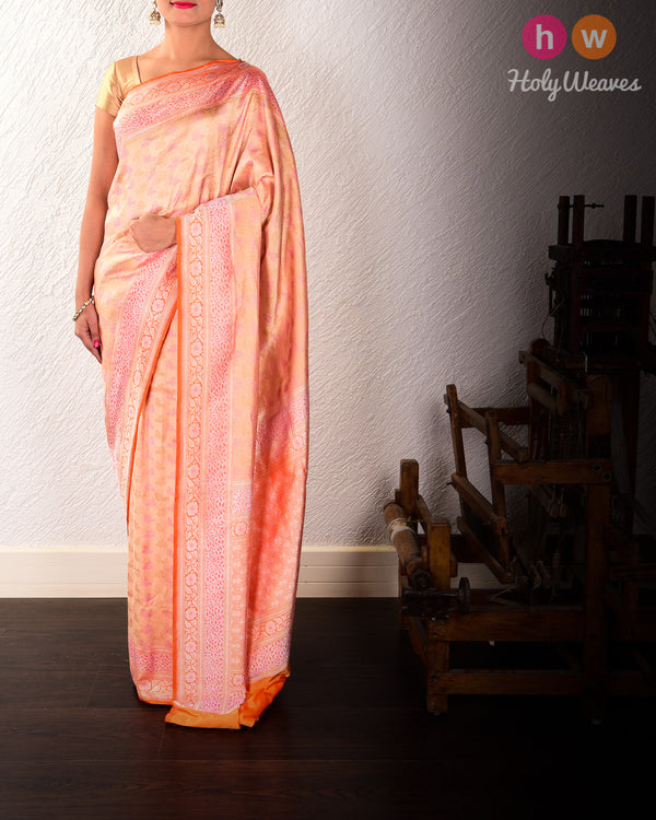 Gold Banarasi Cutwork Brocade Handwoven Katan Silk Saree with All-over Meenekari