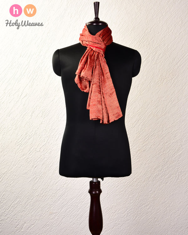 "Red Brocade Handwoven Georgette Scarf 72""x43"" - HolyWeaves"