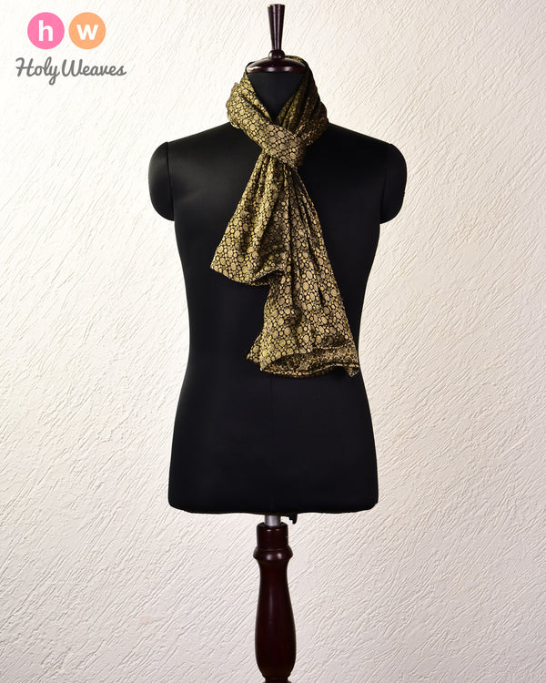 "Black Brocade Handwoven Georgette Scarf 72""x43"" - HolyWeaves"