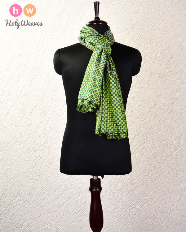 "Green Printed Silk Scarf 76""x42"" - HolyWeaves"