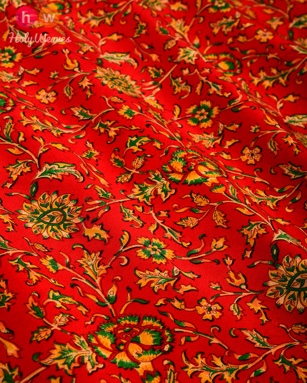 "Red Floral Printed Crepe Scarf 76""x46"" - HolyWeaves"