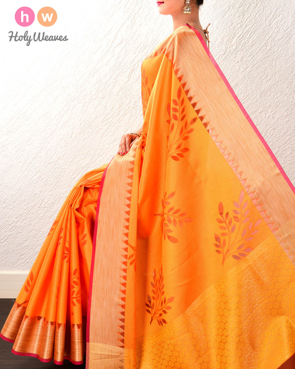 Orange Leaves Cutwork Brocade Woven Cotton Silk Saree - HolyWeaves