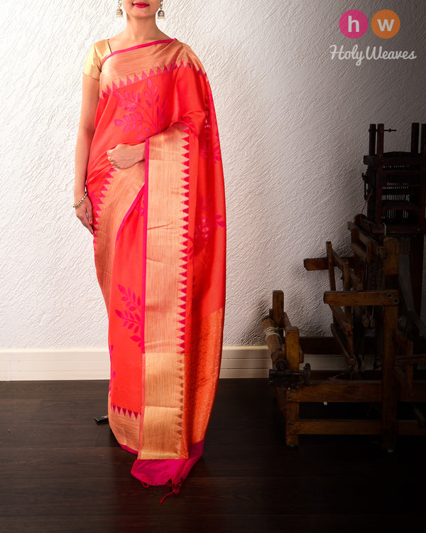 Pink-Orange Leaves Cutwork Brocade Woven Cotton Silk Saree - HolyWeaves
