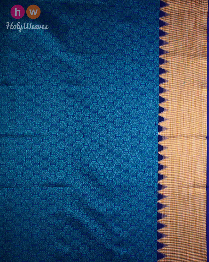Blue Leaves Cutwork Brocade Woven Cotton Silk Saree - HolyWeaves