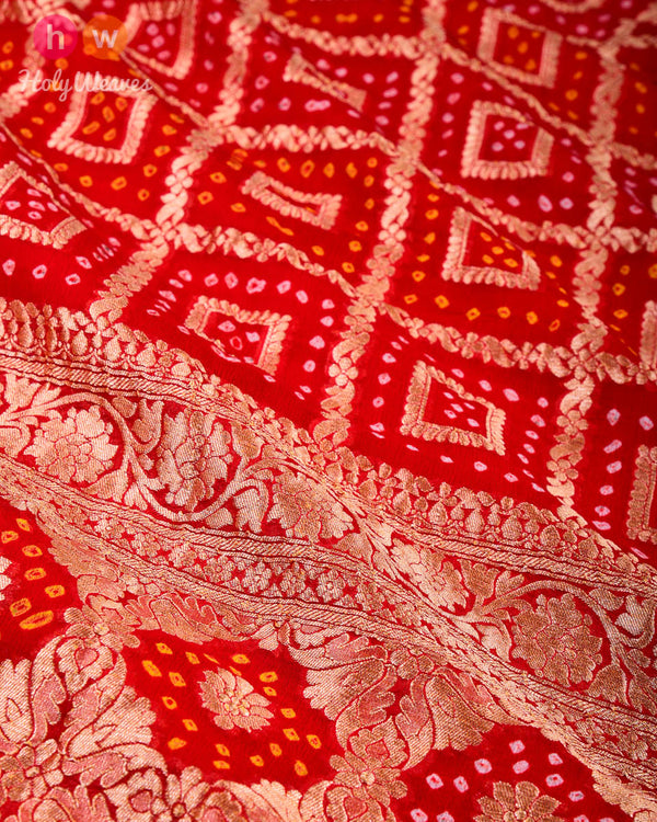 Red Banarasi Cutwork Brocade Handwoven Khaddi Georgette Dupatta with 2-color Bandhej