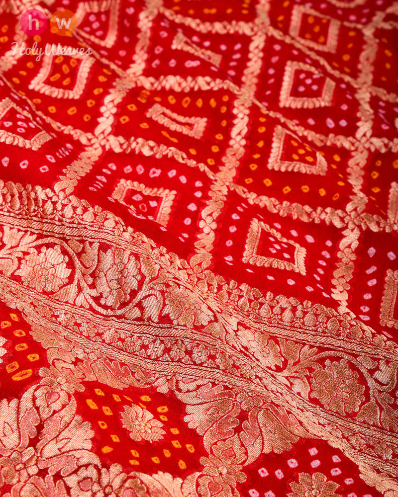 Red Banarasi Cutwork Brocade Handwoven Khaddi Georgette Dupatta with 2-color Bandhej - HolyWeaves