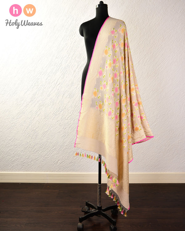 Beige Banarasi Cutwork Brocade Handwoven Muga Silk Dupatta with Hand-brush Meena - HolyWeaves