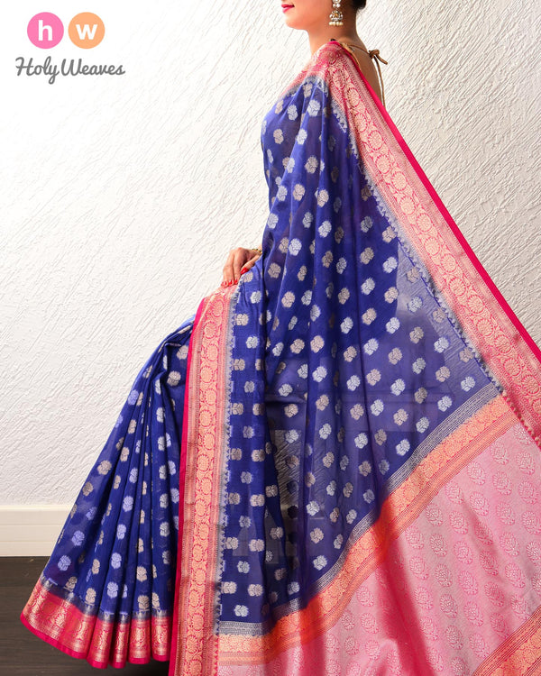 Blue Banarasi Cutwork Brocade Woven Cotton Silk Saree - HolyWeaves