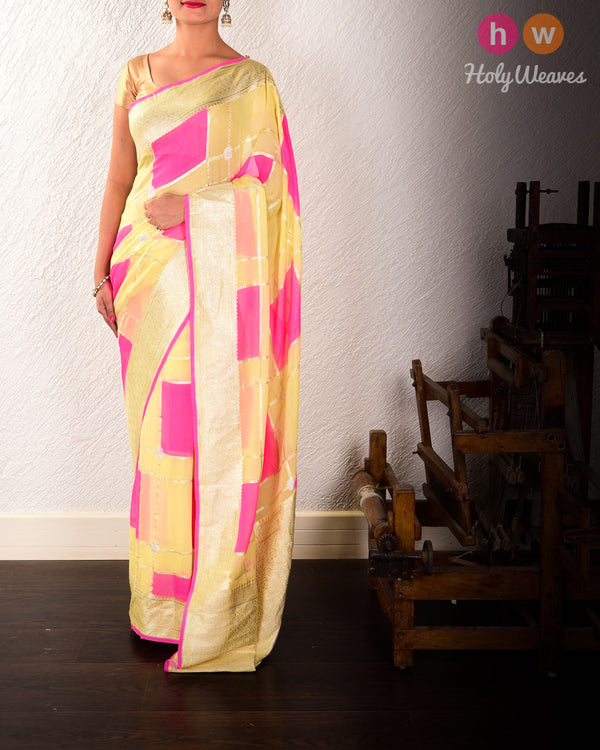 Yellow-Pink Banarasi Alfi Sona-Rupa Cutwork Brocade Handwoven Khaddi Georgette Saree with Hand-brush Color Blocks - HolyWeaves