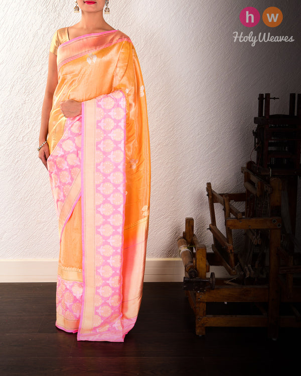 Golden Yellow Banarasi Alfi Sona-Rupa Kadhuan Brocade Handwoven Katan Tissue Saree with Kadiyal Brocade Border