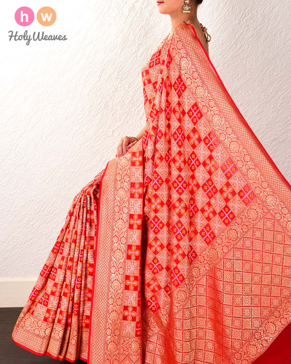 Red Banarasi Cutwork Brocade Handwoven Khaddi Georgette Saree with Bandhej Weave - HolyWeaves
