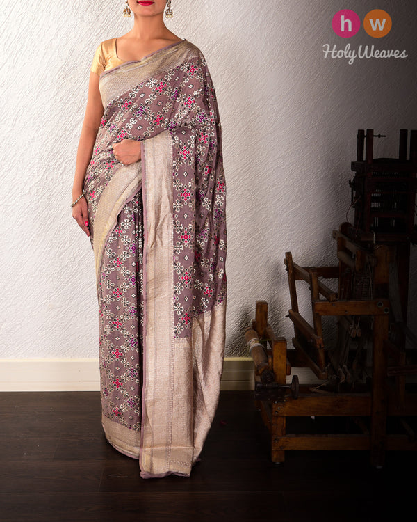 Metallic Gray Banarasi Cutwork Brocade Handwoven Khaddi Georgette Saree with Patola Weave - HolyWeaves