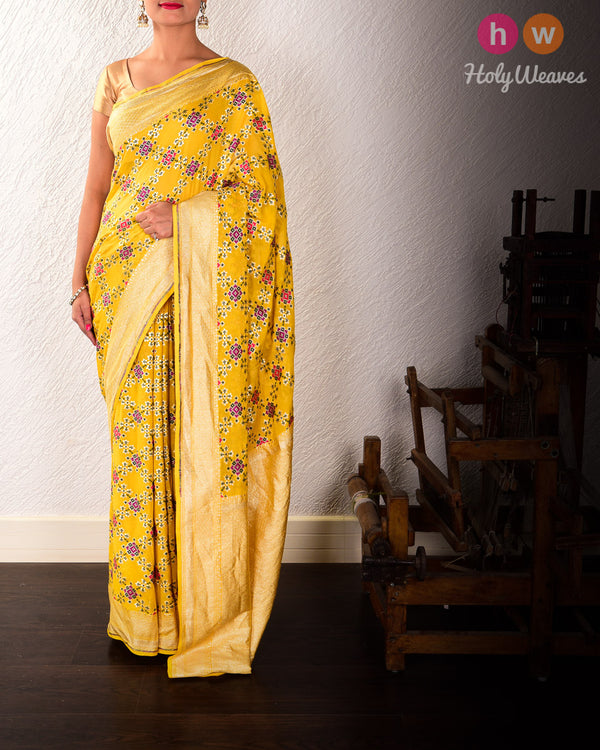 Yellow Banarasi Cutwork Brocade Handwoven Khaddi Georgette Saree with Patola Weave - HolyWeaves