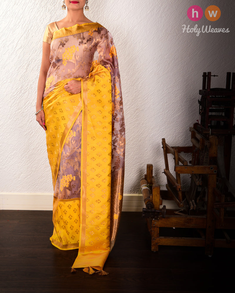 Rosy Brown Banarasi Alfi Cutwork Brocade Handwoven Kora Silk Saree with Silk Border - HolyWeaves