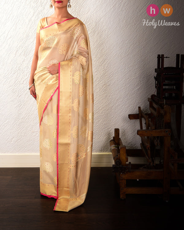 Golden Beige Banarasi Cutwork Brocade Woven Kota Tissue Saree with Hand-brush Meena - HolyWeaves
