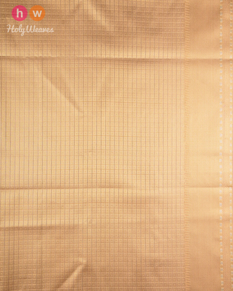 Golden Beige Banarasi Chevron Zig-Zag Alfi Cutwork Brocade Woven Kota Tissue Saree - HolyWeaves