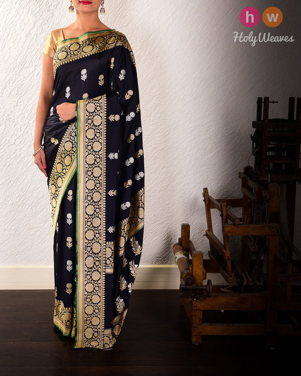 Navy Blue Kadhuan Brocade Handwoven Katan Silk Saree with Brocade Blouse-piece