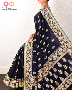 Navy Blue Kadhuan Brocade Handwoven Katan Silk Saree with Brocade Blouse-piece - HolyWeaves