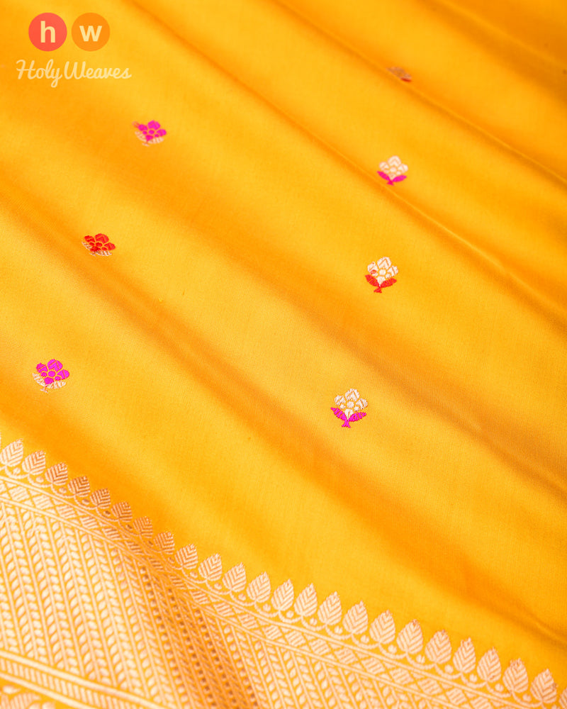 Golden Yellow Banarasi Alfi Kadhuan Brocade Handwoven Katan Silk Saree - HolyWeaves