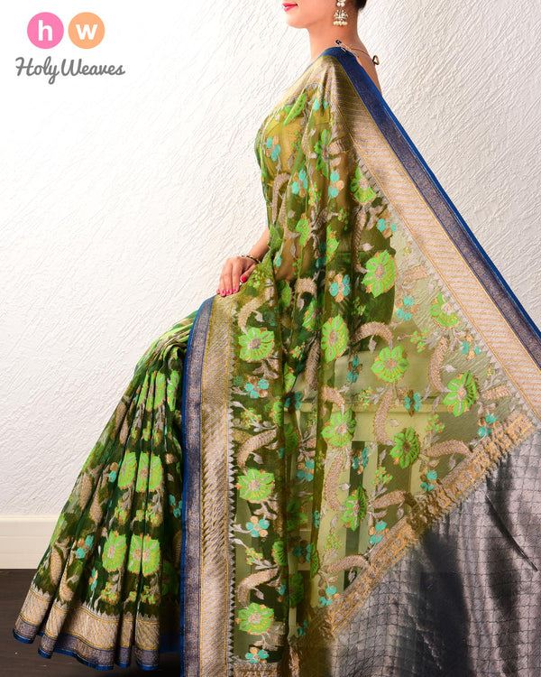 Olive Green Banarasi Tehri Cutwork Brocade Handwoven Kora Silk Saree - HolyWeaves