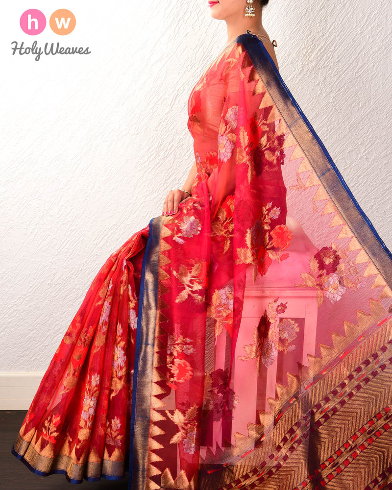 Red Banarasi Tehra Buta Cutwork Brocade Handwoven Kora Silk Saree - HolyWeaves