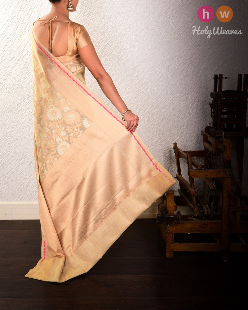 Golden Beige Banarasi Alfi Jaal Cutwork Brocade Woven Kota Tissue Saree - HolyWeaves