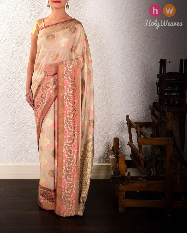 Golden Beige Banarasi Meena Buta Cutwork Brocade Handwoven Cotton Tissue Saree - HolyWeaves