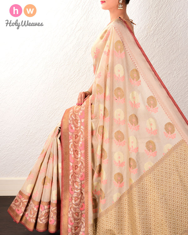Golden Beige Banarasi Meena Buta Cutwork Brocade Handwoven Cotton Tissue Saree