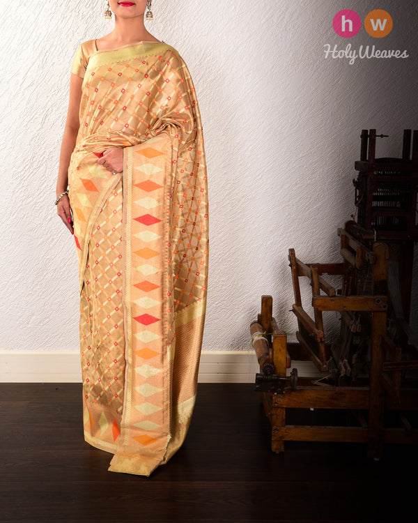 Gold Banarasi Tehri Meena Grid Cutwork Brocade Handwoven Tissue Saree - HolyWeaves