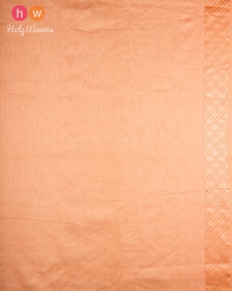 Orange Banarasi Alfi Cutwork Brocade Handwoven Kora Tissue Saree - HolyWeaves
