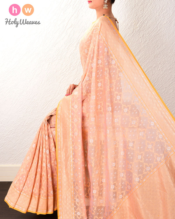 Peach Banarasi Alfi Cutwork Brocade Handwoven Cotton Tissue Saree