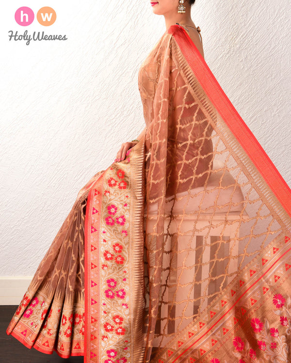 Brown Banarasi Tehri Cutwork Brocade Handwoven Kora Silk Saree with Meena Border Pallu - HolyWeaves