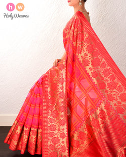 Pink Banarasi Tehri Resham Grid Cutwork Brocade Handwoven Kora Silk Saree with Brocade Border Pallu