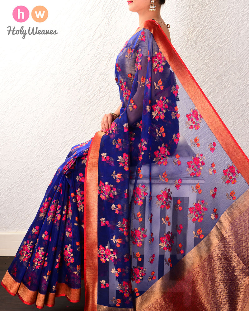 Royal Blue Banarasi Tehri Meena Jaal Cutwork Brocade Handwoven Kora Silk Saree